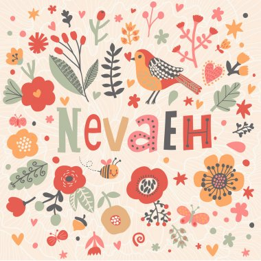 beautiful floral card with name Nevaeh