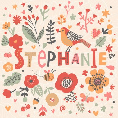 beautiful floral card with name Stephanie