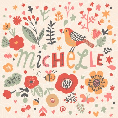 beautiful floral card with name Michelle