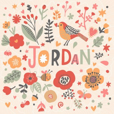 beautiful floral card with name Jordan