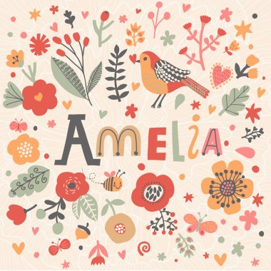 beautiful floral card with name Amelia