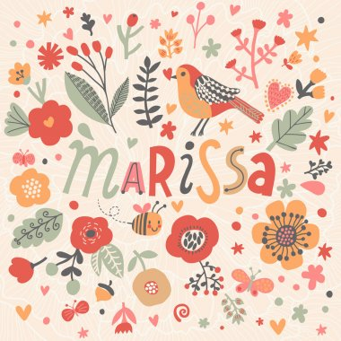 beautiful floral card with name Marissa