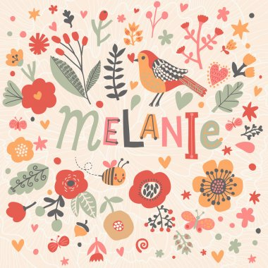 beautiful floral card with name Melanie