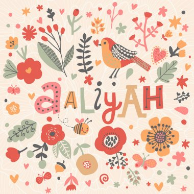beautiful floral card with name Aaliyah