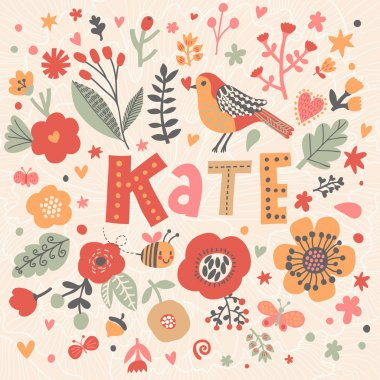 bright floral card with name Kate