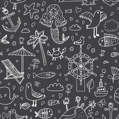 sea cartoon icons pattern