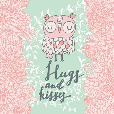 romantic spring card with cartoon owl