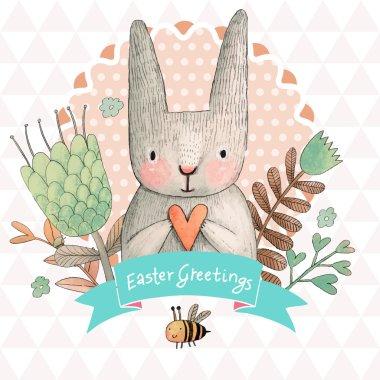 """Картина, постер, плакат, фотообои """"пасхальная открытка с кроликом сирень природа лилии"""", артикул 75036975"""