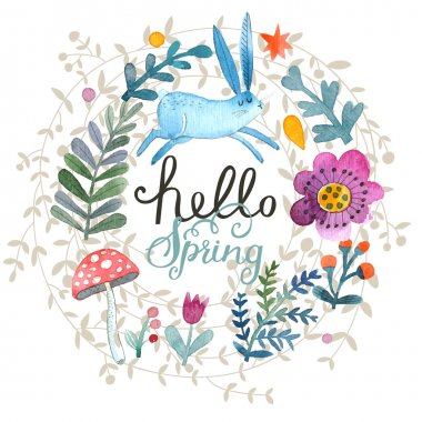 Cartoon floral spring card