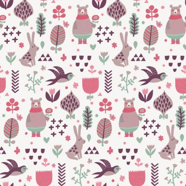 pattern with cartoon birds and animals