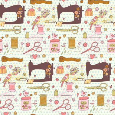 sewing concept cartoon pattern