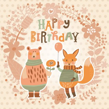 birthday card with cartoon fox and bear