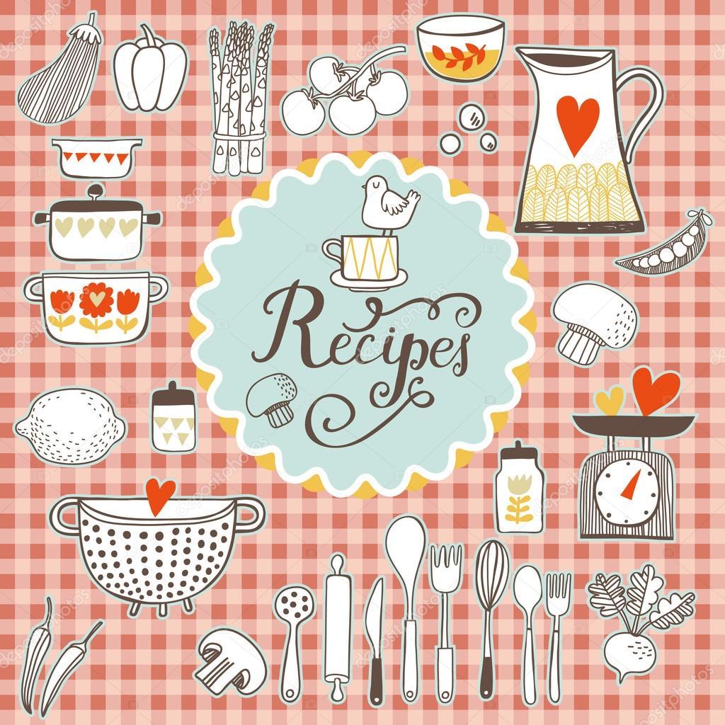 tarjeta de recetas de cocina — Archivo Imágenes Vectoriales ...