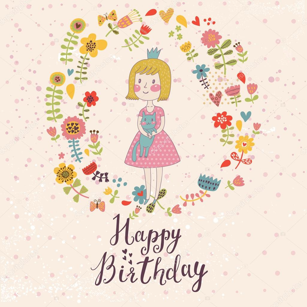 Awesome Happy Birthday Card In Cartoon Style Cute Small Princess With Her Lovely Cat Flowers And Butterflies Childish Vector Sweet Colors