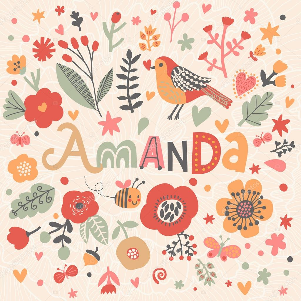 Beautiful Floral Card With Name Amanda Stock Vector