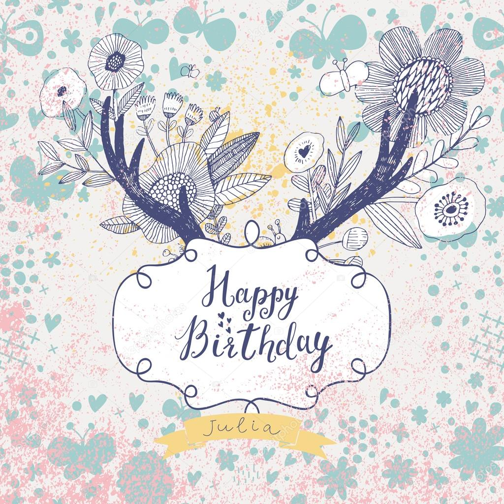 Hipster happy birthday card Vector smilewithjul 75036521 – Hipster Birthday Cards