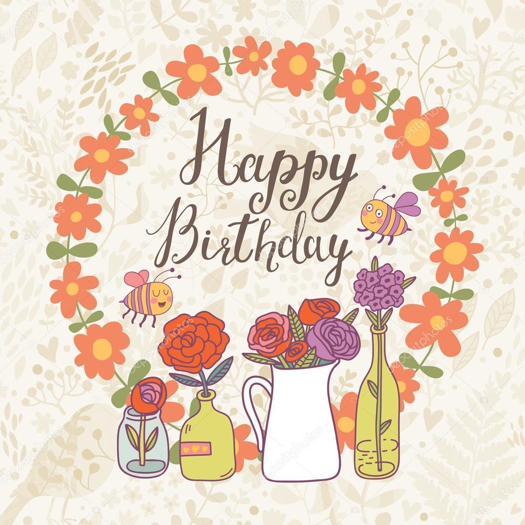 Happy Birthday Floral Cartoon Card Image Vectorielle Smilewithjul