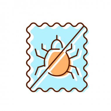 Dust mite repellent flat icon. Fabric feature. Textile industry. Insect protection. Color symbol. Isolated vector stock illustration