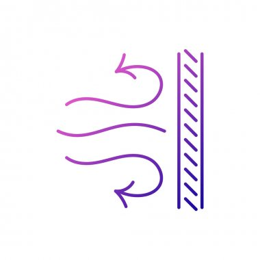 Windproof fabric feature outline icon. Material quality Fiber type. Gradient symbol. Isolated vector stock illustration
