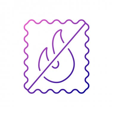 Fireproof material outline icon. Fabric feature. Textile industry. Fiber type. Gradient symbol. Isolated vector stock illustration