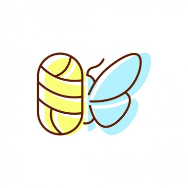Silkworm with cocoon flat icon. Silk material. Fabric feature. Textile industry. Material quality. Color symbol. Isolated vector stock illustration