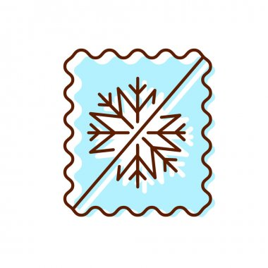 Snowproof material flat icon. Weather protection. Thermal insulated fabric feature. Fiber type. Color symbol. Isolated vector stock illustration