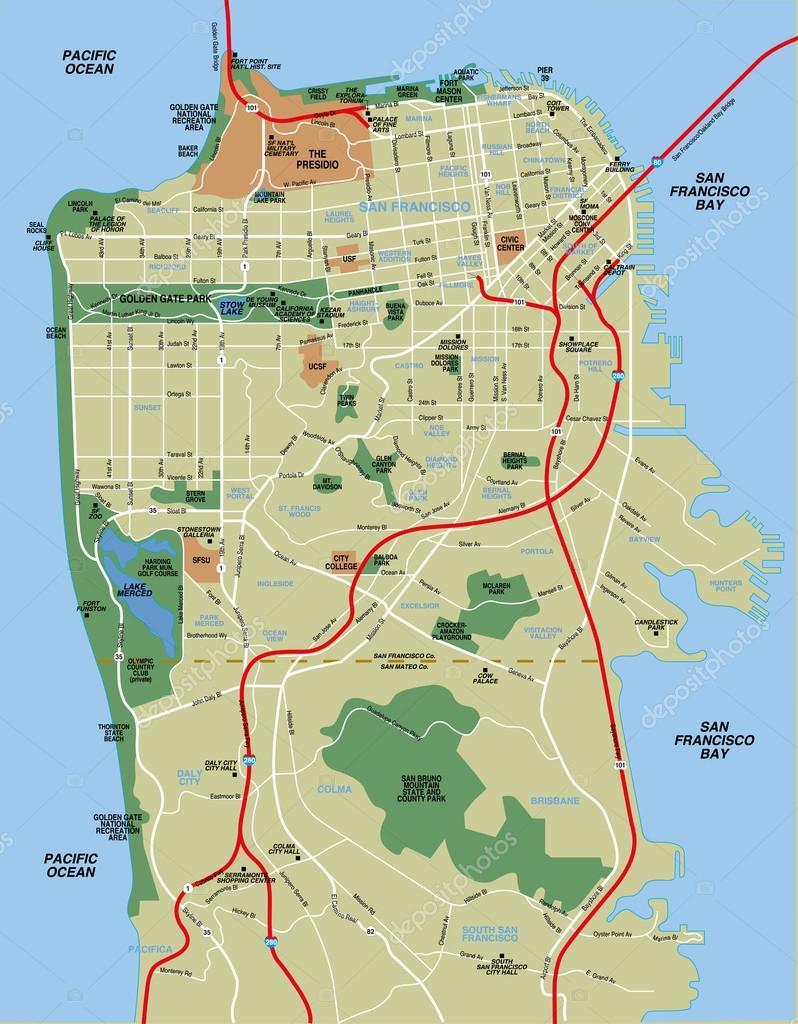 san francisco karta San Francisco mapa del vector — Vector de stock © nicolarenna4  san francisco karta