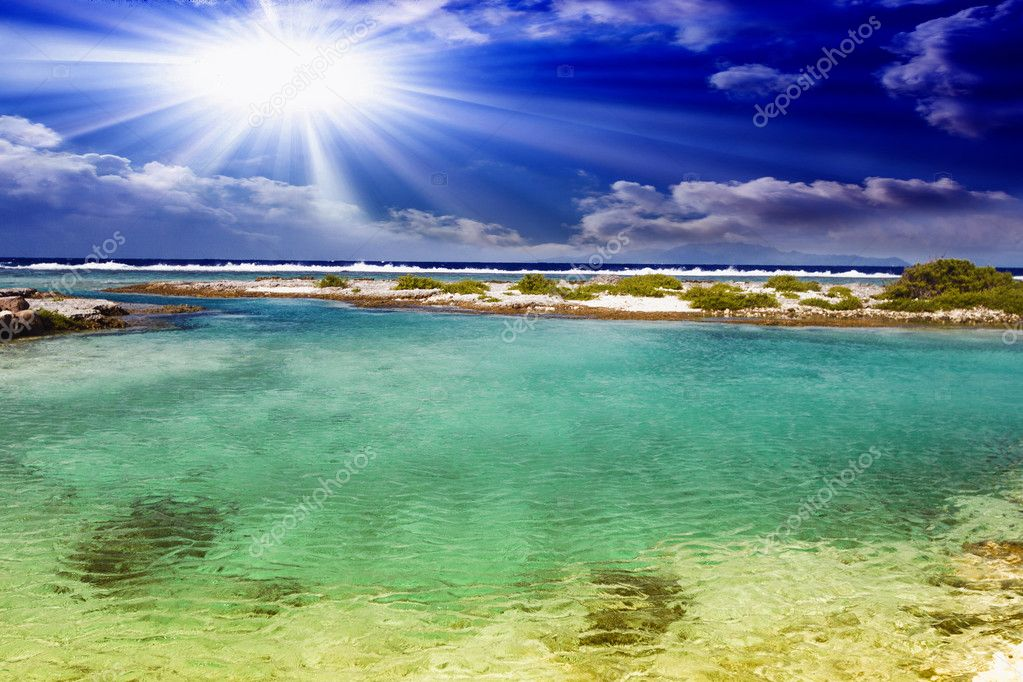 Polynesian sea and coast in bright sunlight