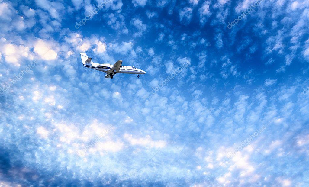 Private Jet PLane during landing.