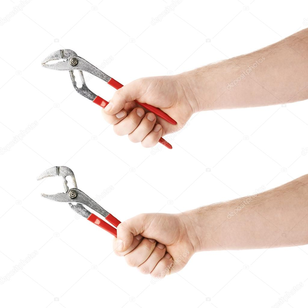 Set of hand holding a plumber wrench tool, composition isolated over ...