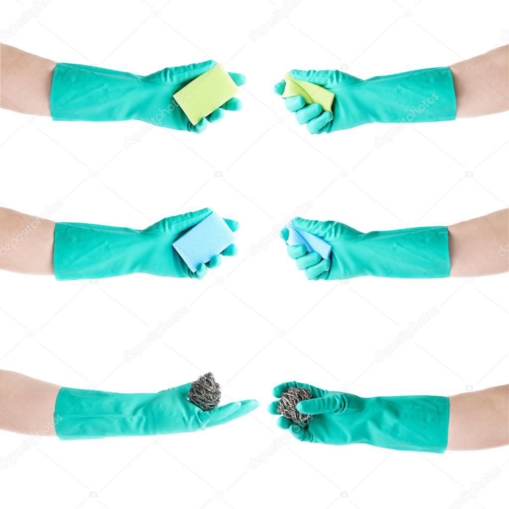 6c4e946c4a2 Sada rukou v latexové rukavice gumové držení kuchyně houba bílé izolované  pozadí– stock obrázky