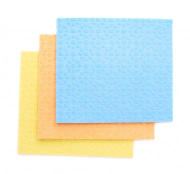 Stack of kitchen cleaning napkin rags over white isolated background