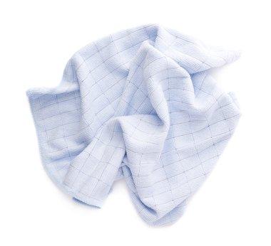 Blue rag over white isolated background