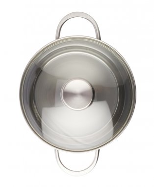Stainless steel cooking pot pan isolated over white background