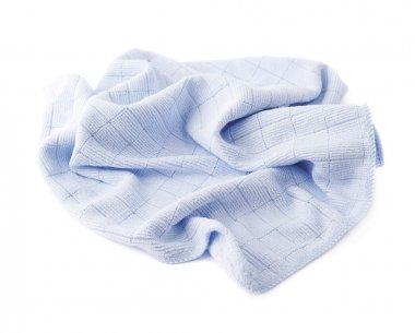 Blue rag over white isolated background