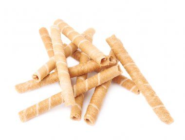 Pile of wafel sticks isolated over the white background