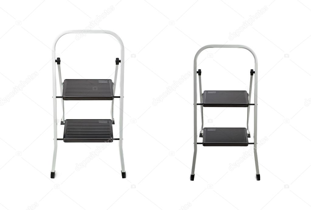 Set of Two steps ladder over isolated white background