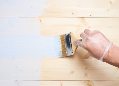 Process of painting wooden boards