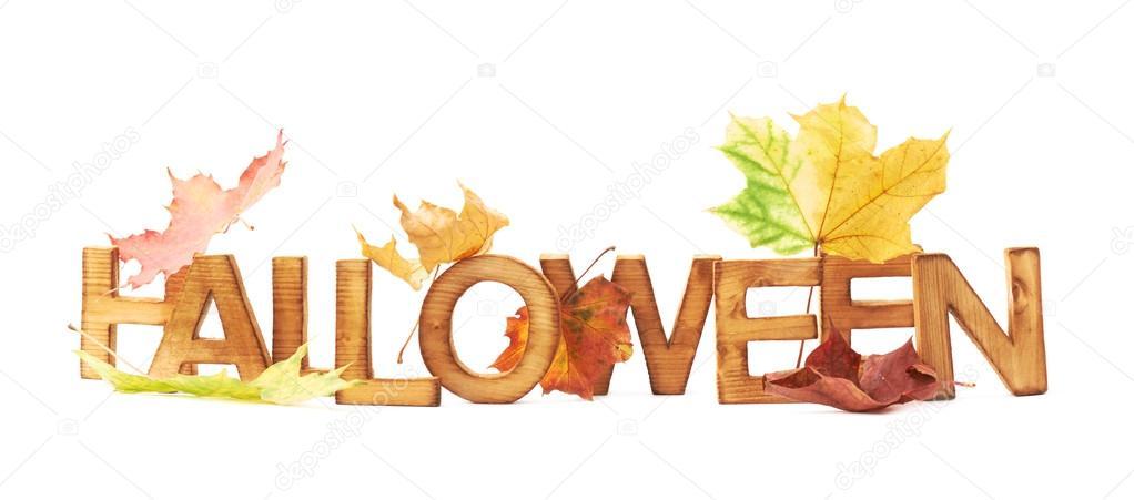 word halloween of wooden letters stock photo exopixel 60250083