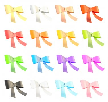 Set of decorational ribbon bows isolated over white background, set of sixteen color variations stock vector
