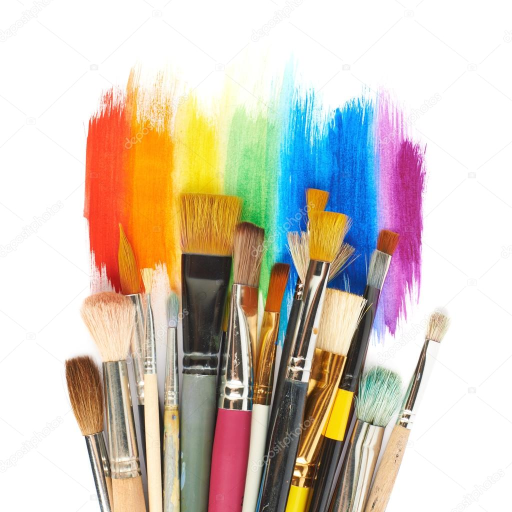 Pile Of The Multiple Different Brushes Over The Rainbow Gradient Paint  Strokes, Composition Isolated Over The White Surface, Top View Above U2014  Image De ...