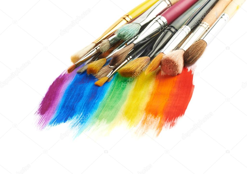 Pile Of The Multiple Different Brushes Over The Rainbow Gradient Paint  Strokes, Composition Isolated Over The White Surface U2014 Image De Exopixel