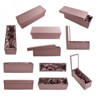 Set of multiple brown tall gift boxes with the velvet cloth inside, isolated over the white background stock vector
