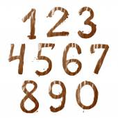 Set of ten number digit characters