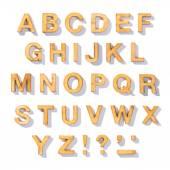 Hnědá dřevěná písmeno abecedy sada