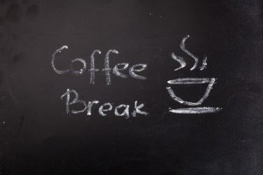 Chalked coffee break words on blackboard