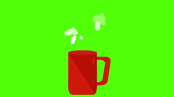 Red coffee cup animation, seamless loop on green screen chroma key
