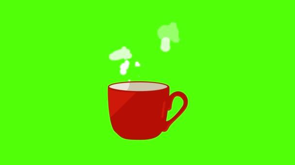 Červený šálek kávy animace, bezešvé smyčka na zelené obrazovce chroma klávesy