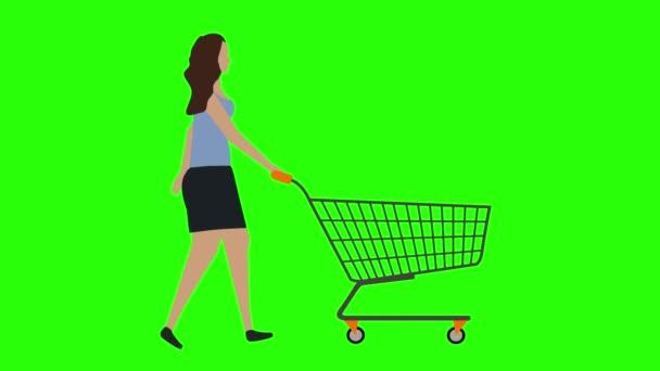 Nők séta kerékpár zökkenőmentes hurok, húzza a bevásárlókocsi, zöld képernyő króm kulcs animáció, lapos design