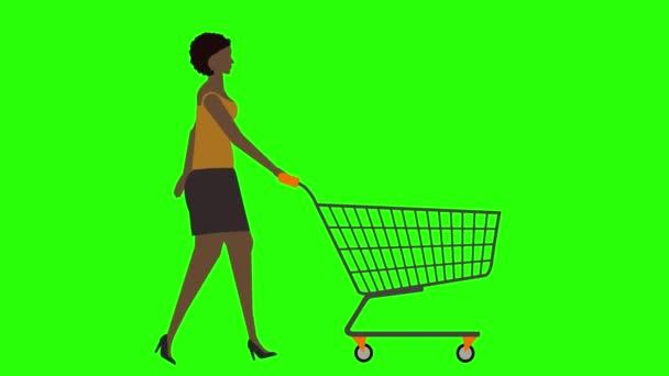 Dámské vycházkové cyklus bezešvé smyčka, tahání nákupní košík, zelená obrazovka chroma klávesy animace, plochý design